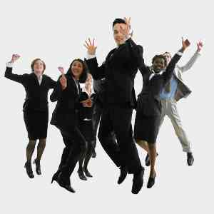 business people jumping