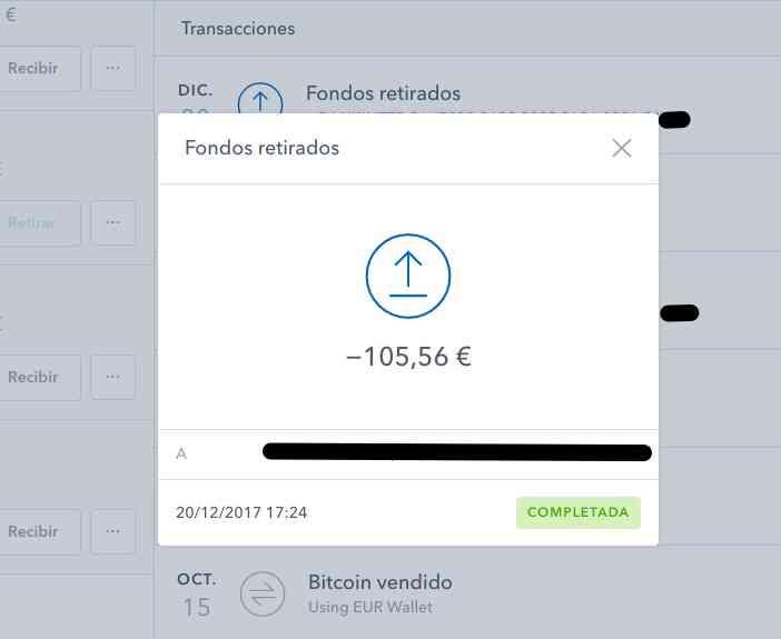 Transferencia euros coinbase