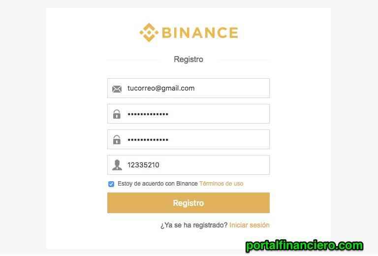 registro binance