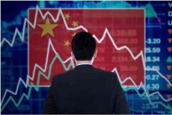 Bandera de China y gráficos económicos, Depositphotos