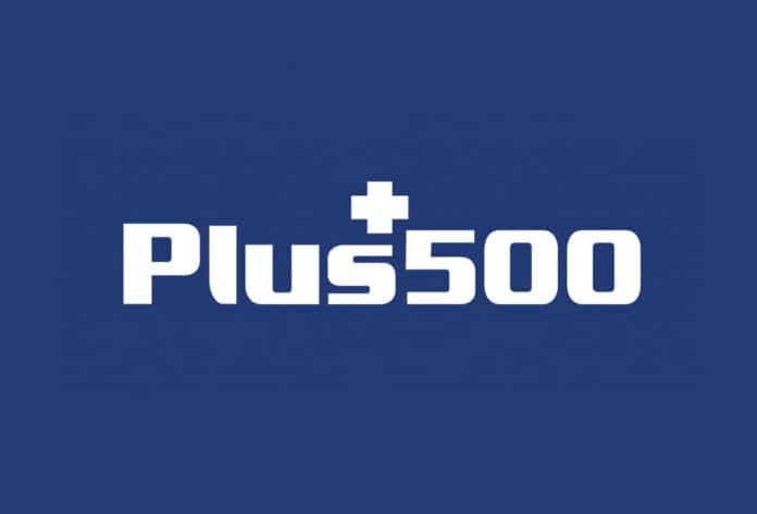 plus500 logo fondo azul